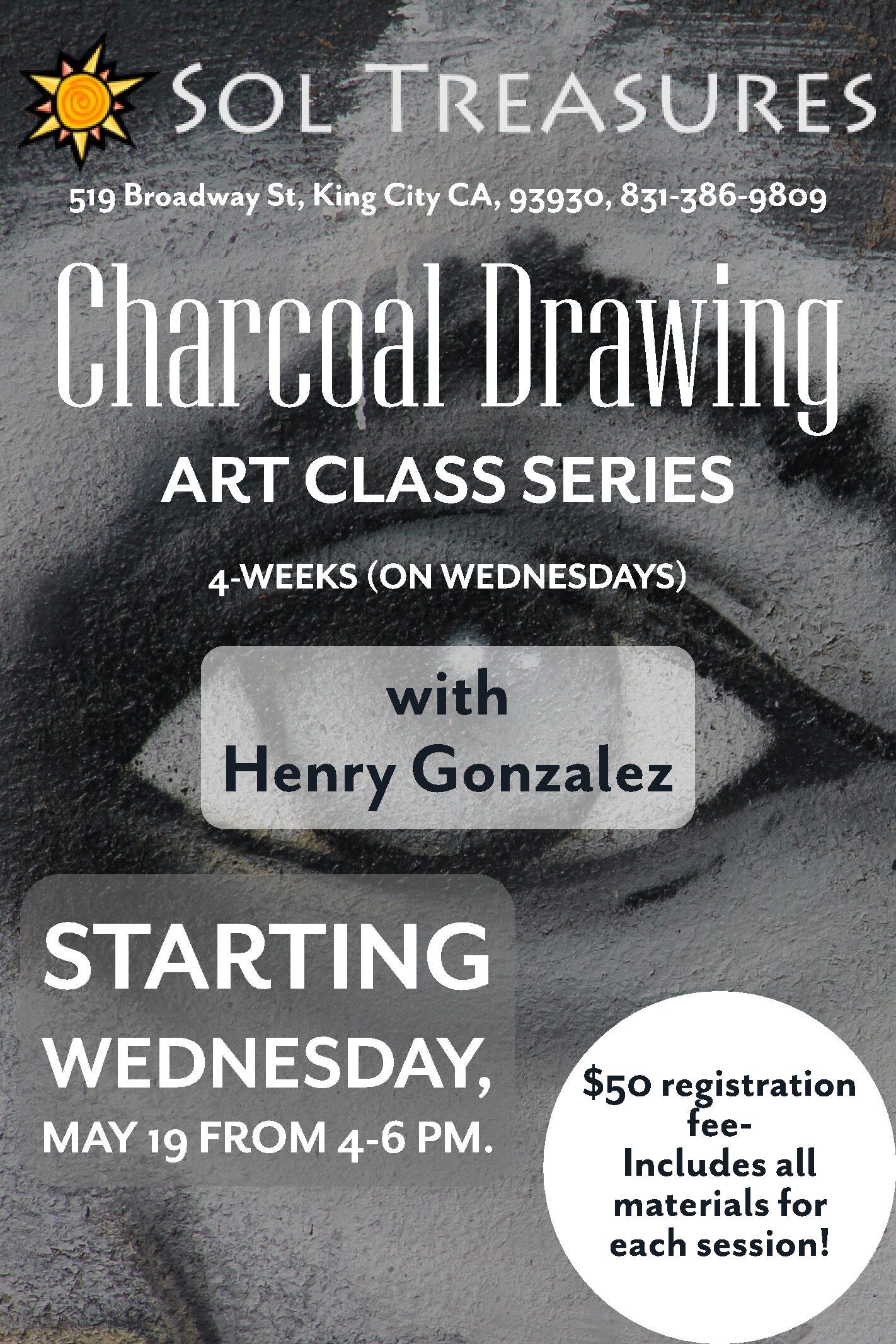 Charcoal Drawing Art Class Series